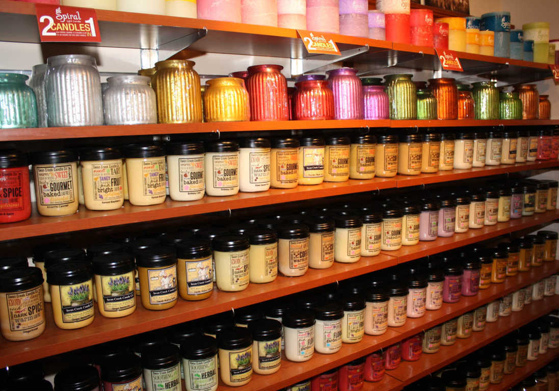 Shelves of Candles and a variety of fragrances available at Mon General Hospital Gift Shop
