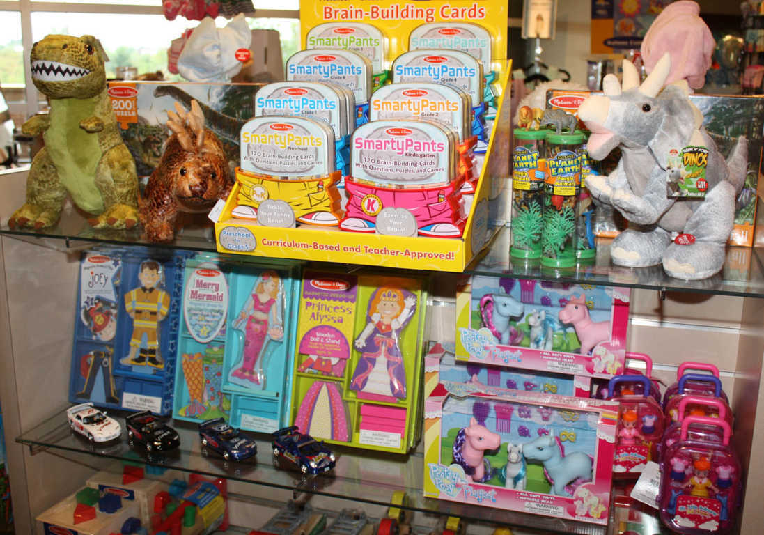 Children's Toys such as stuffed Dinasaurs and Ponies available at Mon General Hospital Gift Shop