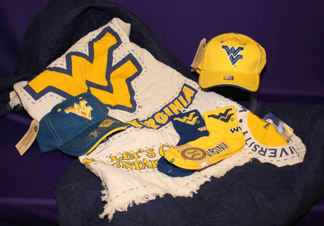 WVU swag og hats and socks from Mon General Hospital Gift Shop